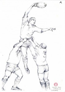 Three Man Line-Out (Gerald Laing)