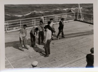 Playing croquet on board