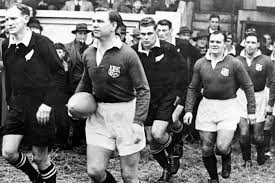 Bleddyn Williams leads out the Lions against the All Blacks, 1950