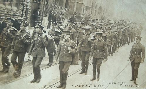 The 1st Monmouths march down Stow Hill Newport, 1914