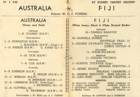 Team List - Australia v Fiji (2nd Test), 9th August 1952