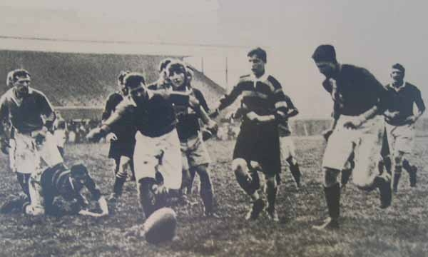 Black and white photograph showing the first match to be played at Twickenham Stadium