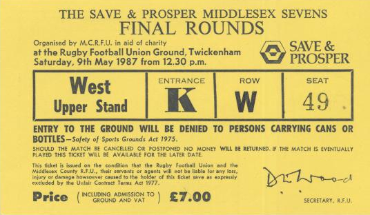 Yellow card ticket for the 1987 Middlesex Sevens Finals at Twickenham Stadium